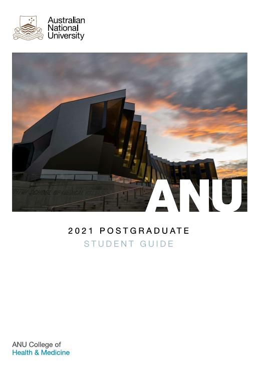 2020 ANU College of Health & Medicine postgraduate student course guidecover
