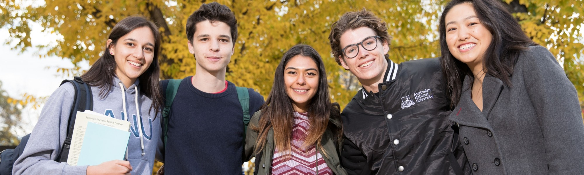5 ANU students smiling
