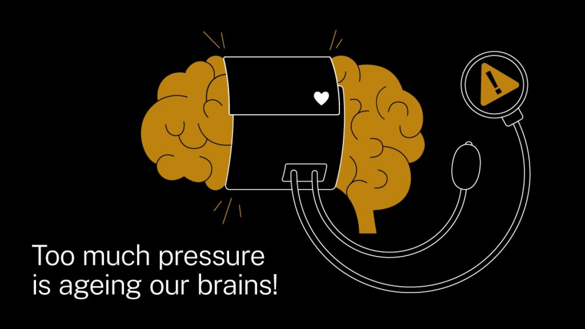Brain being squuezed by blood pressure machine - illustration