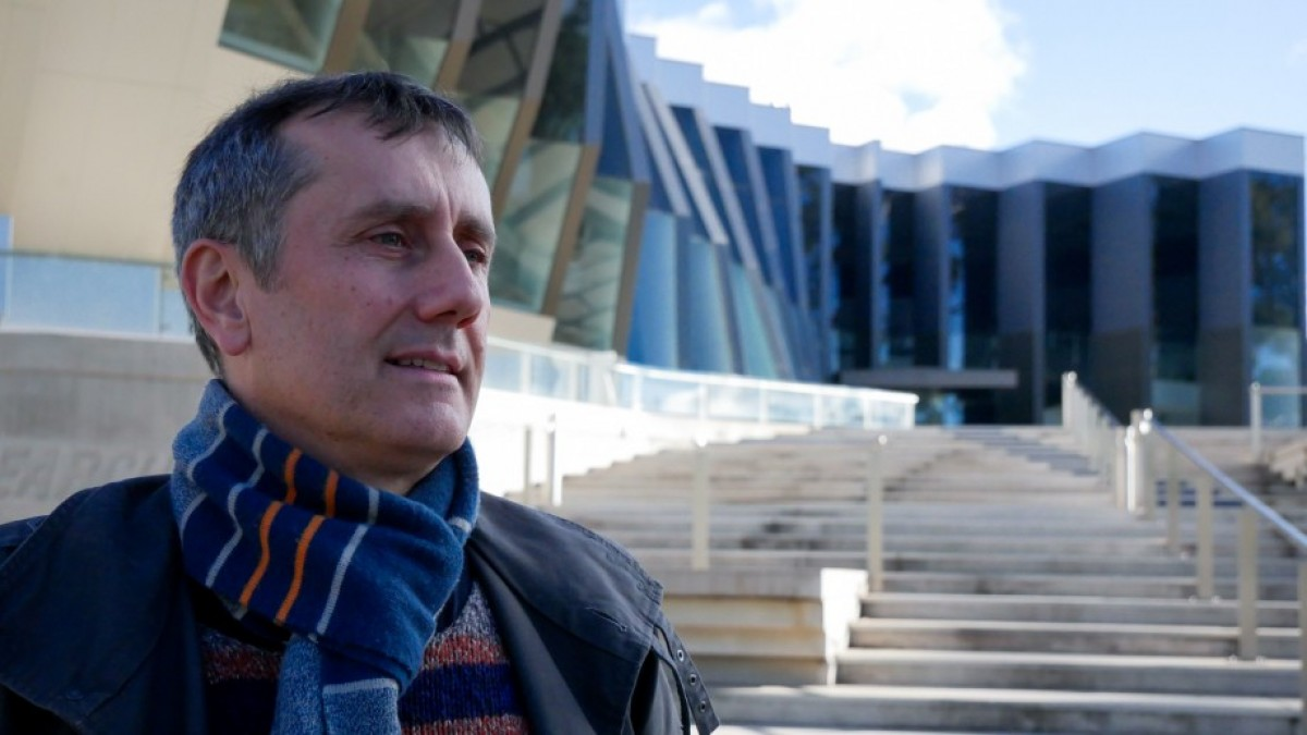 Professor Thomas Preiss outside JCSMR building