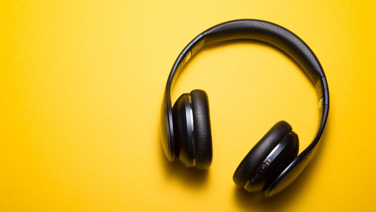 head phones on bright yellow background