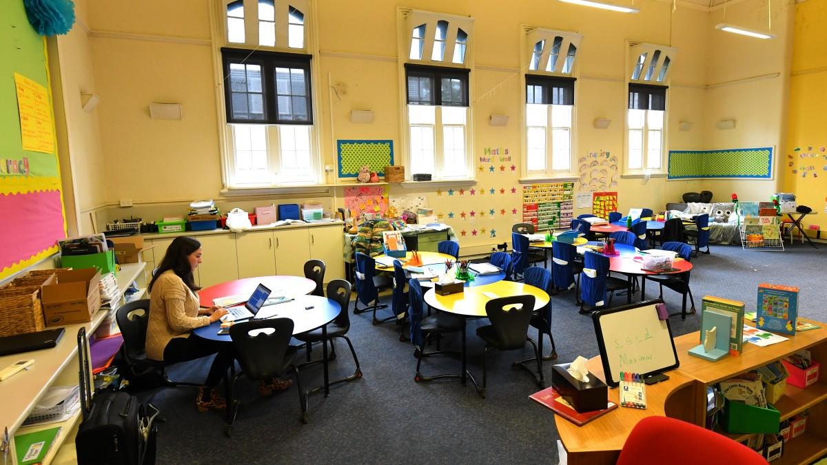 Empty classroom school closures.